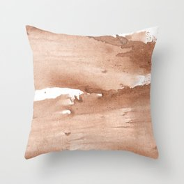 Tan nebulous wash drawing pattern Throw Pillow