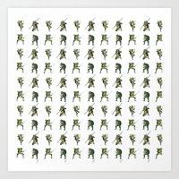 ninja turtle Art Prints featuring Ninja Turtle Pattern by Neal Julian