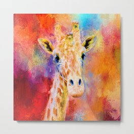 Jazzy Giraffe Colorful Animal Art by Jai Johnson Metal Print