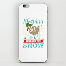 Cute Slothing Through the Snow Christmas iPhone Skin