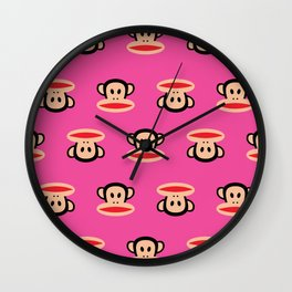 Julius Monkey Pattern by Paul Frank - Pink Wall Clock