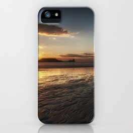 Sunset and wet sand at Worms Head iPhone Case