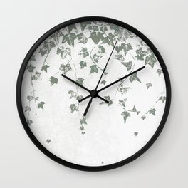 Gray Green Trailing Ivy Leaf Print Wall Clock