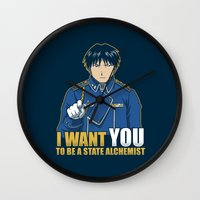 fullmetal alchemist Wall Clocks featuring I Want You to be a State Alchemist by adho1982