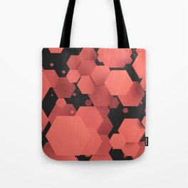 Red hexagons on black Tote Bag
