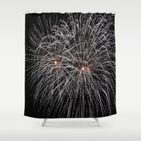 fireworks Shower Curtains featuring Fireworks by Carlo Toffolo
