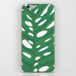 green watercolour leaf iPhone Skin