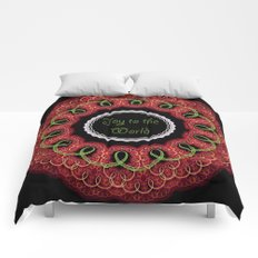 Joy to the world, swirling festive design with text Comforters