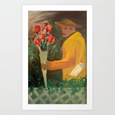 Man with flowers  Art Print