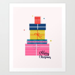 Pile of christmas presents Art Print