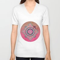 india V-neck T-shirts featuring India Pink by LebensART