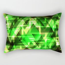 Spring gentle green horizontal strict stripes of sparkling grass triangles. Rectangular Pillow