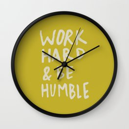 Work Hard and Be Humble x Mustard Wall Clock