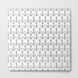 black and white anchor pattern Metal Print