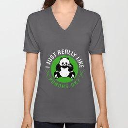 Panda Likes Pandas Bamboo Giant Bear China Unisex V-Neck