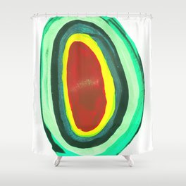 Hole, Green and Red Shower Curtain