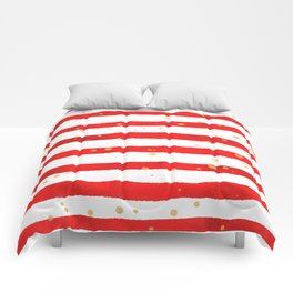 Modern hand painted red yellow watercolor stripes splatters Comforters