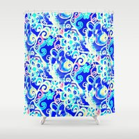 hippy Shower Curtains featuring Hippy Cobalt Funky Flowers by RokinRonda