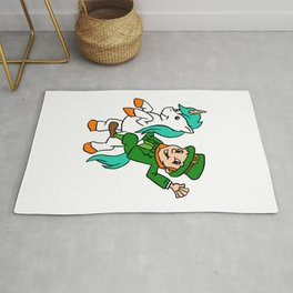 Leprechaun Riding A Unicorn St Patricks Day Rug