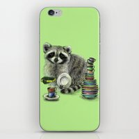 raccoon iPhone & iPod Skins featuring Raccoon by Anna Shell