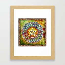 Rune Circle Pentagram Framed Art Print