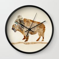 buffalo Wall Clocks featuring buffalo by bri.buckley