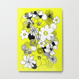Floral Medley - Yellow Metal Print