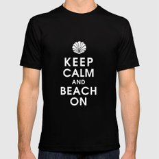 Keep Calm and Beach On Mens Fitted Tee MEDIUM Black