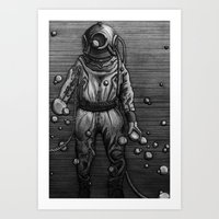 diver Art Prints featuring Diver by courtneybass