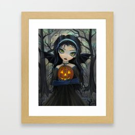October Woods Cute Vampire holding Pumpkin Gothic Big Eye Art Framed Art Print