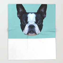 Frenchie / Boston Terrier // Blue Throw Blanket