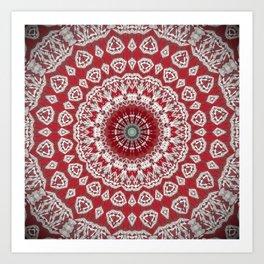 Red White Bohemian Mandala Design Art Print
