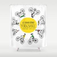 tour de france Shower Curtains featuring Yorkshire Tour de France Grand Départ V by Holly Fisher@SpenceCreative