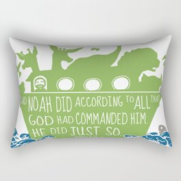 Noahs Ark - Bible - And Noah Did According to All that God had Commanded him Rectangular Pillow