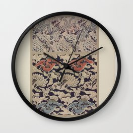 Verneuil - Japanese paper and fabric designs (1913) - 15: Birds and peonies Wall Clock