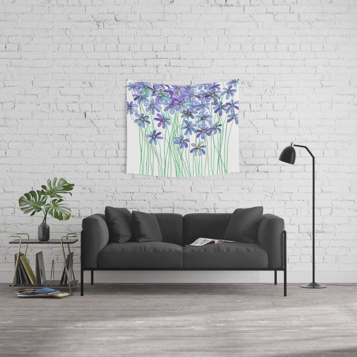 Purple Daisies in Watercolor & Colored Pencil Wall Tapestry
