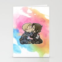 stucky Stationery Cards featuring Stucky chibi kiss by DeanDraws