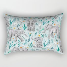 Baby Elephants and Egrets in Watercolor - egg shell blue Rectangular Pillow