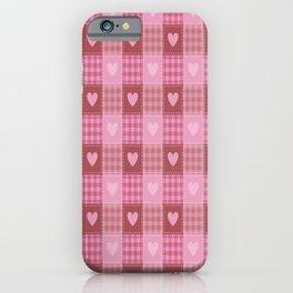 Valentine Hearts Plaid iPhone Case