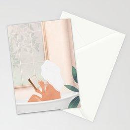 Reading Girl in Bathtub Stationery Cards