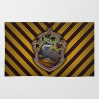 hufflepuff Area & Throw Rugs featuring Hogwarts House Crest - Hufflepuff by Teo Hoble
