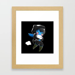 Fuzzy Chibi Luc (Expression 2) w/ Black Background Framed Art Print