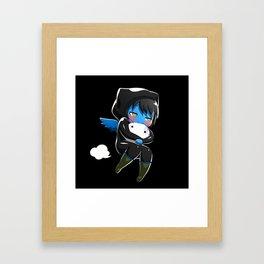 Fuzzy Chibi Luc (Expression 2) w/ Black Background Framed Art Print