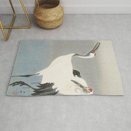 Two Cranes - Vintage Japanese Woodblock Print Art Rug