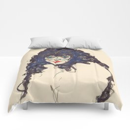 "Egon Schiele ""Frau mit schwarzem Haar (Woman with black hair)"" Comforters"