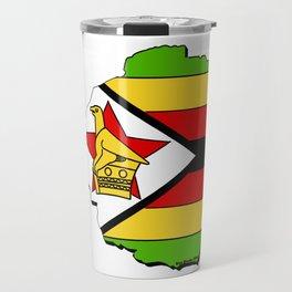 Zimbabwe Map with Zimbabwean Flag Travel Mug