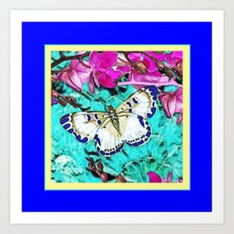 MODERN  PURPLE ORCHIDS & BLUE BUTTERFLY TURQUOISE Art Print