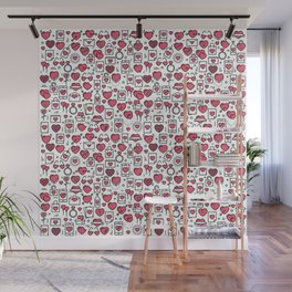 Background with icons and hearts Wall Mural