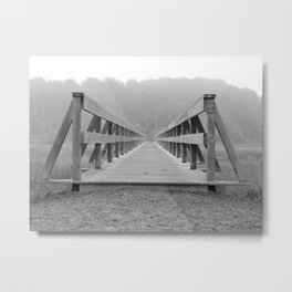 Uncle Tim's Bridge Straight On Black and White Metal Print