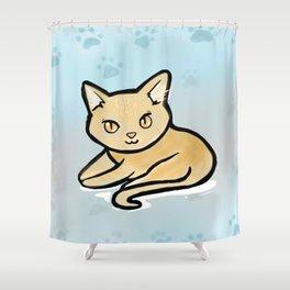 Kawaii Orange kitty with paw background Shower Curtain